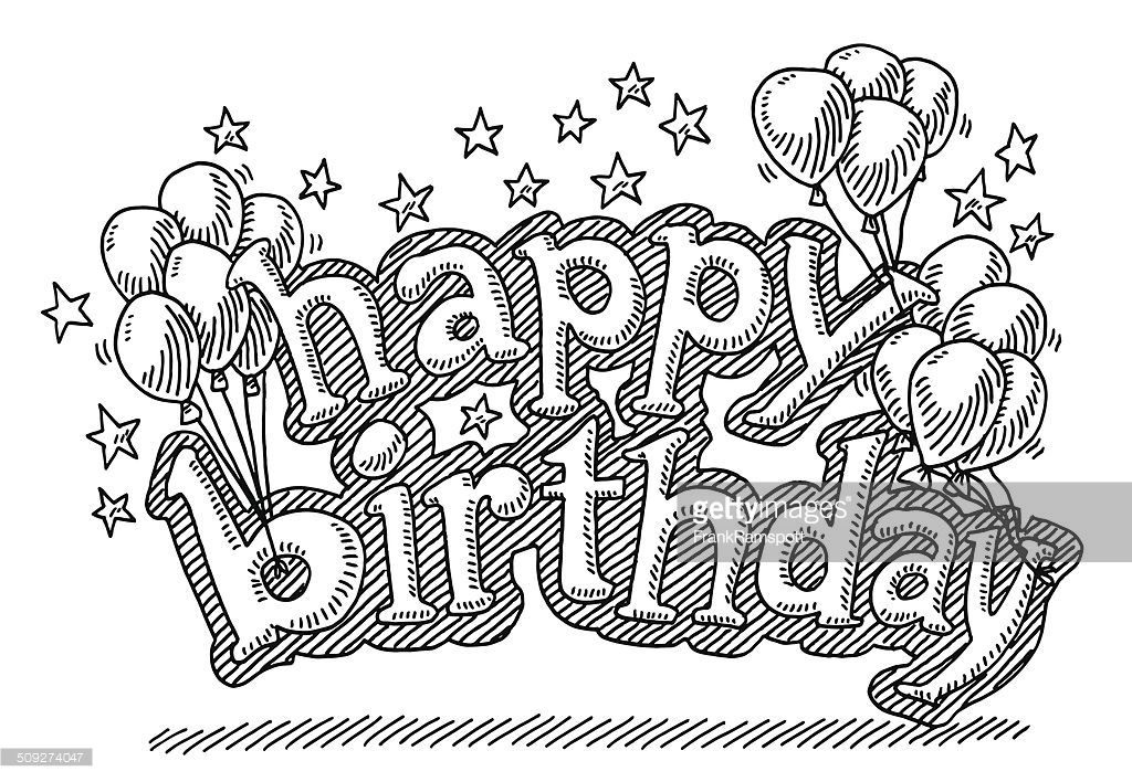 Hand Drawn Vector Drawing Of Happy Birthday Letters With Balloons