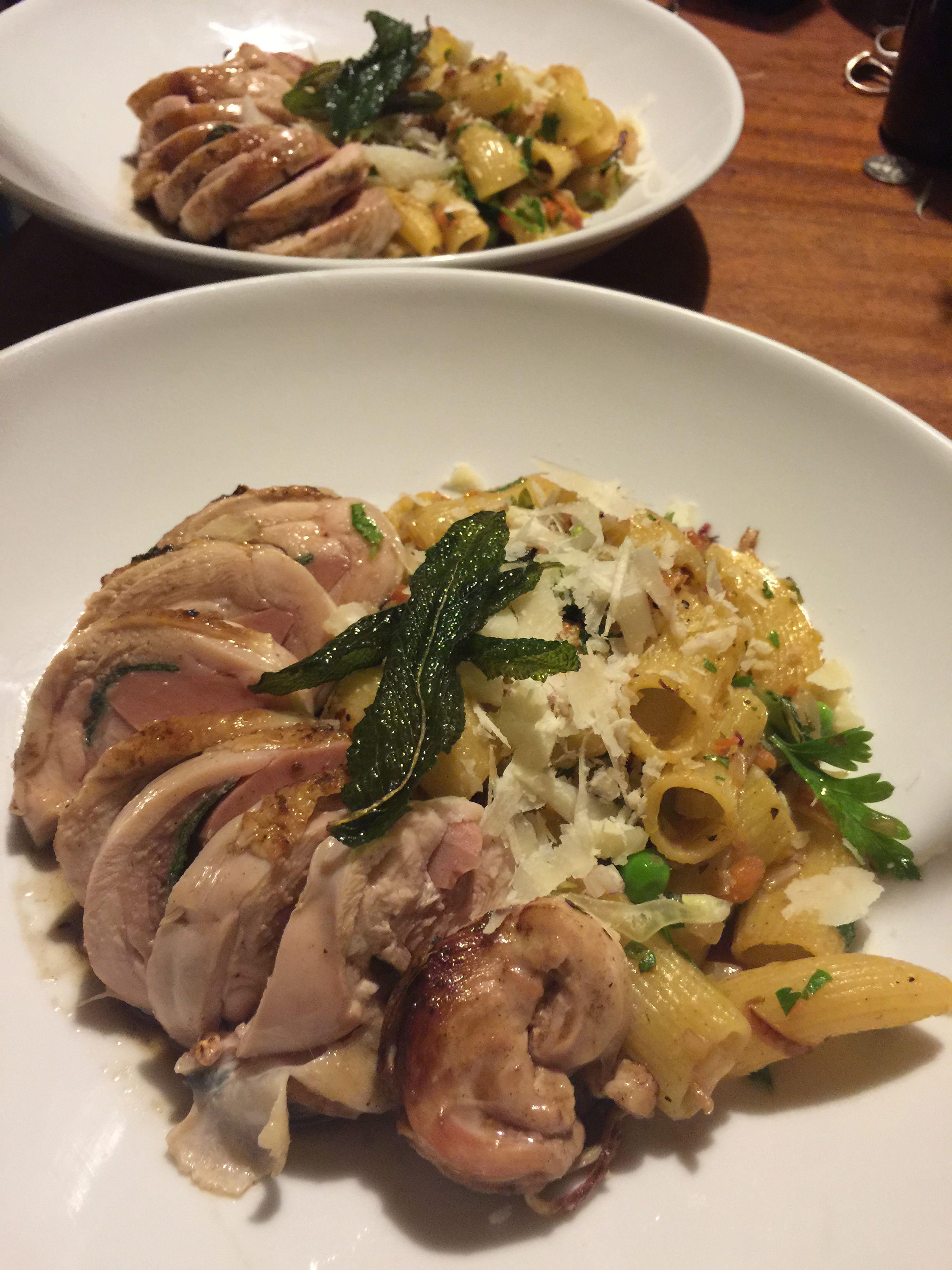 Chicken and mortadella involtini with semi dried tomato butter penne, fresh peas, cos and crisp sage.