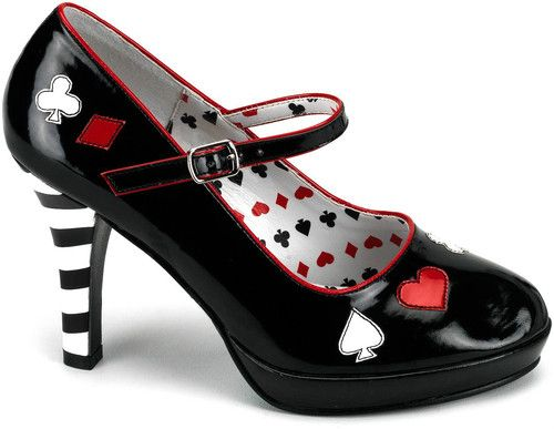HURRY UP...!! FREE SHIPPING  Sexy Black Queen of Hearts women's Halloween Adult Shoes Brand PLEASER