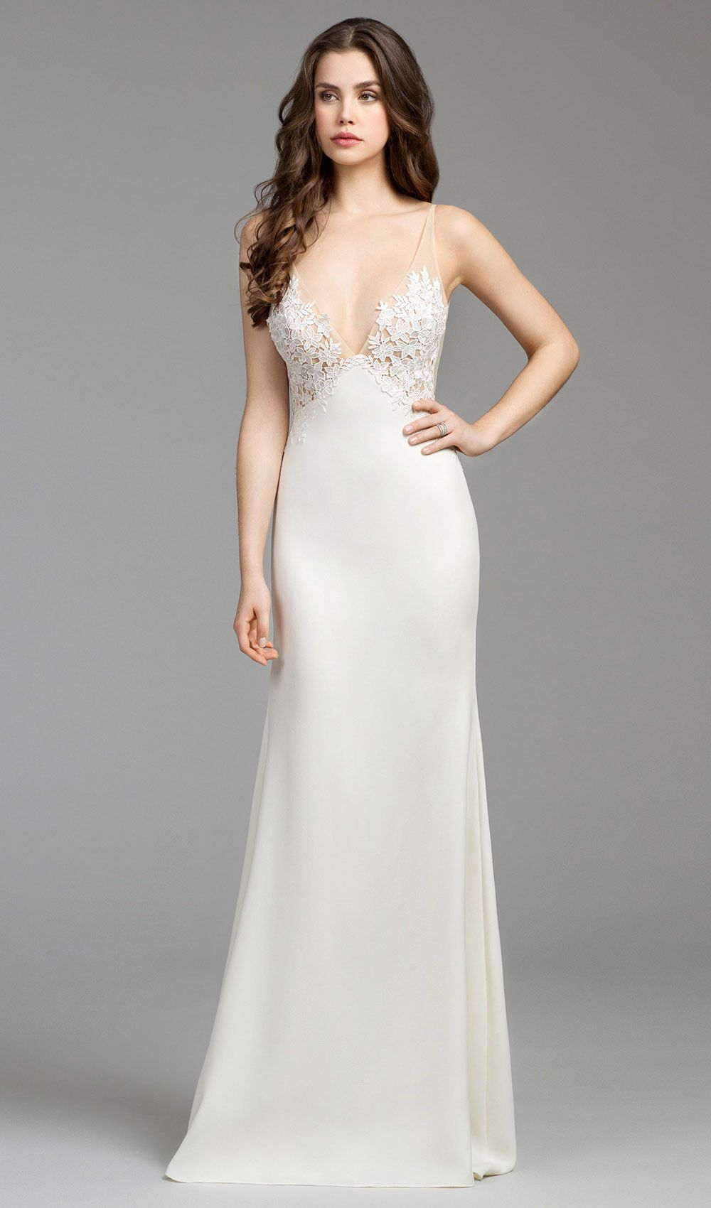 Try this ivory crepe sheath wedding dress, Venise lace bodice with ...