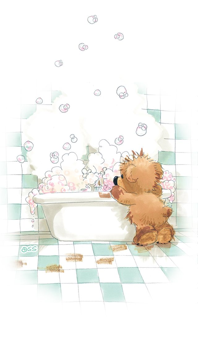 Watercolor Spa Bathtub Girl Clipart Bubble Bathroom Fashion