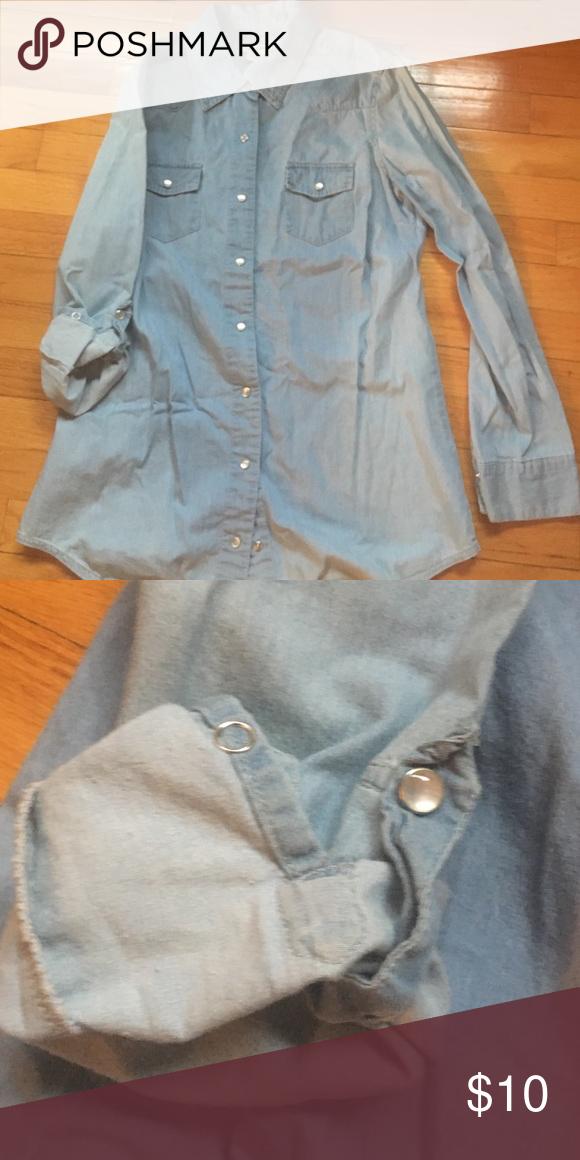 Denim shirt Denim long sleeve button up can be worn as 3/4 sleeve as well Tops Button Down Shirts