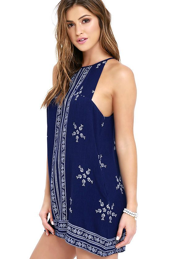 21a6a6ff7bb0a Spend the day on the yacht in the Mediterranean Sea Navy Blue Print Halter  Dress! Gauzy rayon with an ivory floral print shapes this breezy dress.