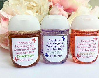 Hand sanitizer labels, Turquoise baby shower favor
