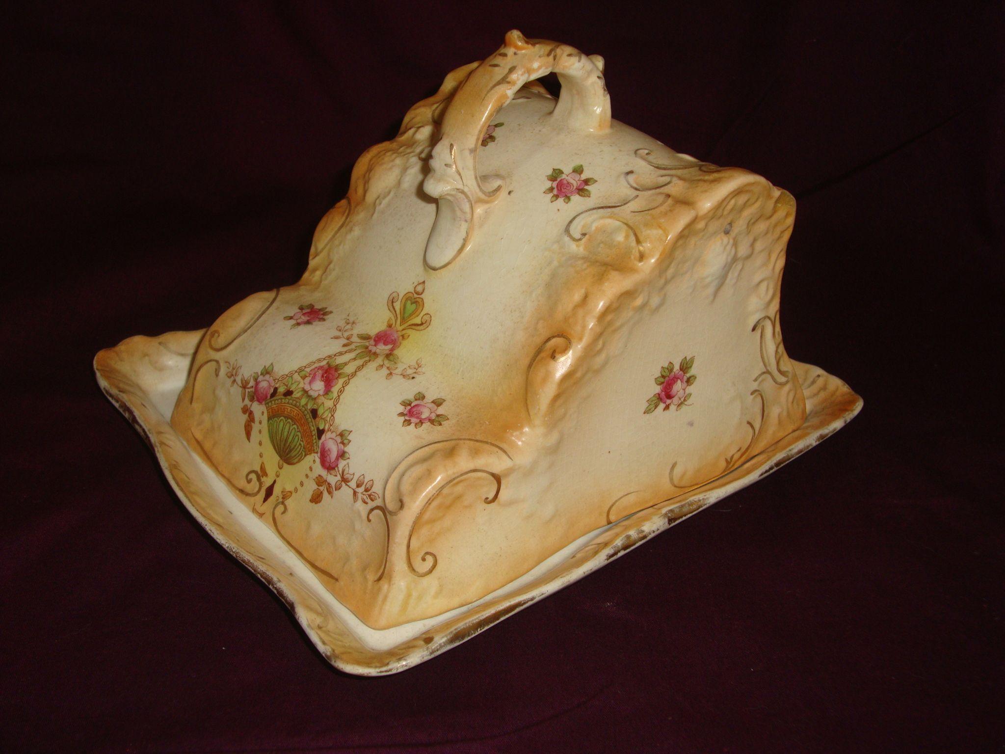Fieldings crown devon cheese dish etna pattern 1911