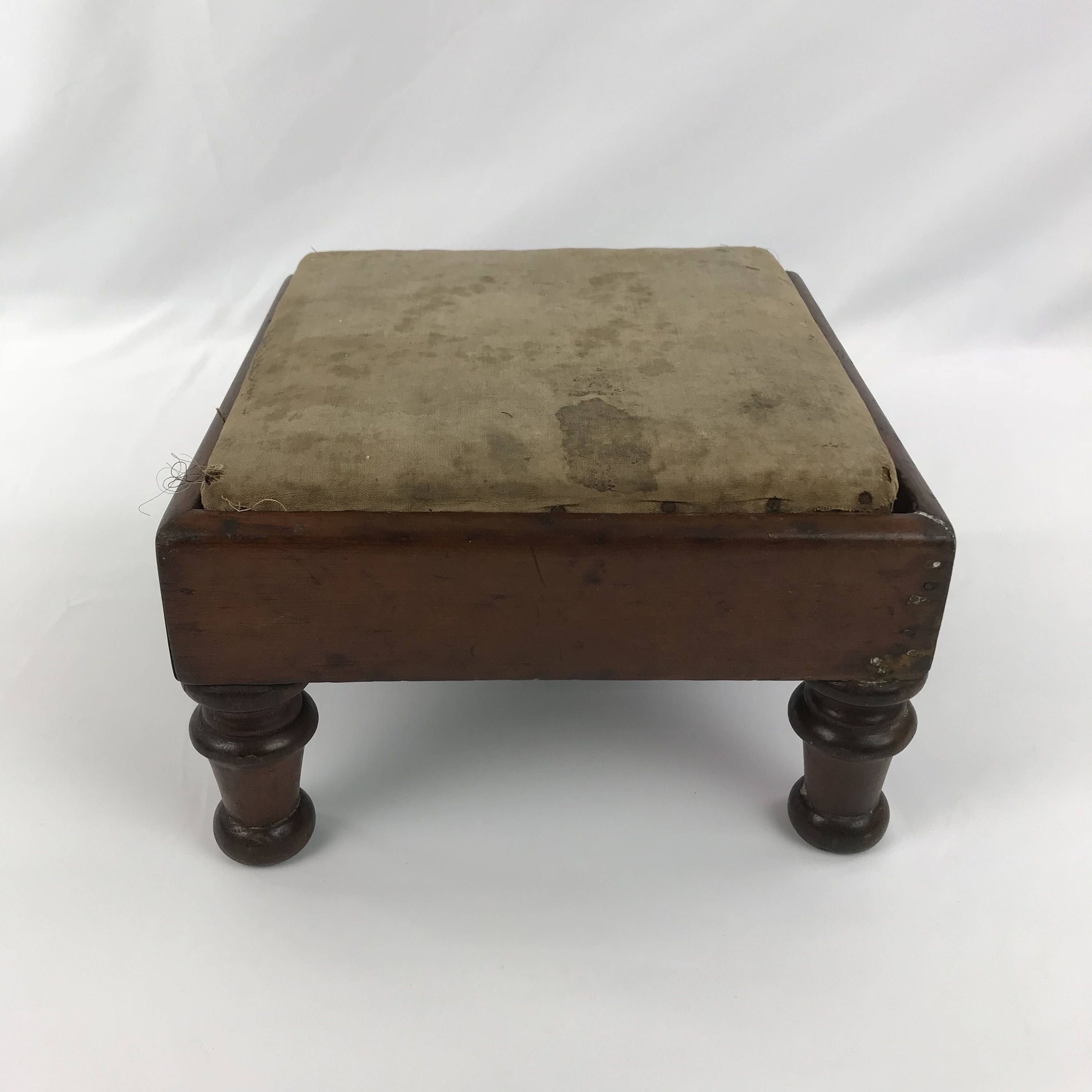 Vintage Square Wood Foot Stool With Original Cover And Turned Legs Wooden Step Stool Wood Footstool Vintage Foot R Wooden Step Stool Footstool Small Ottoman