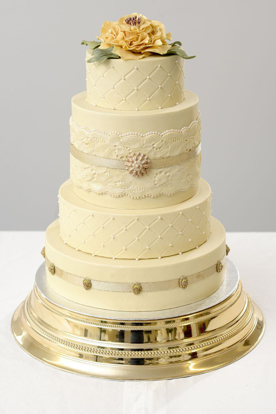 Dita Lee Cakes. Four tiered, vintage lace inspired wedding cake.The ...