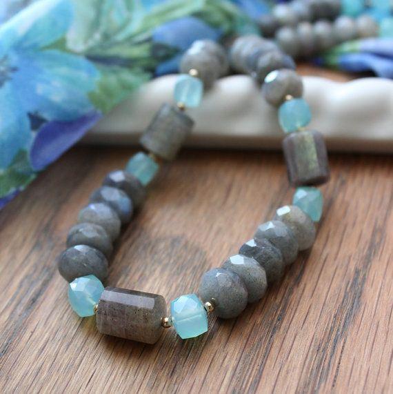 Labradorite and Aqua Chalcedony Necklace. by MagiMorrillJewelry