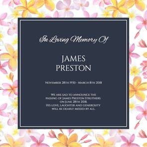 Garden Floral Frame  Free Memorial Card Template  Greetings