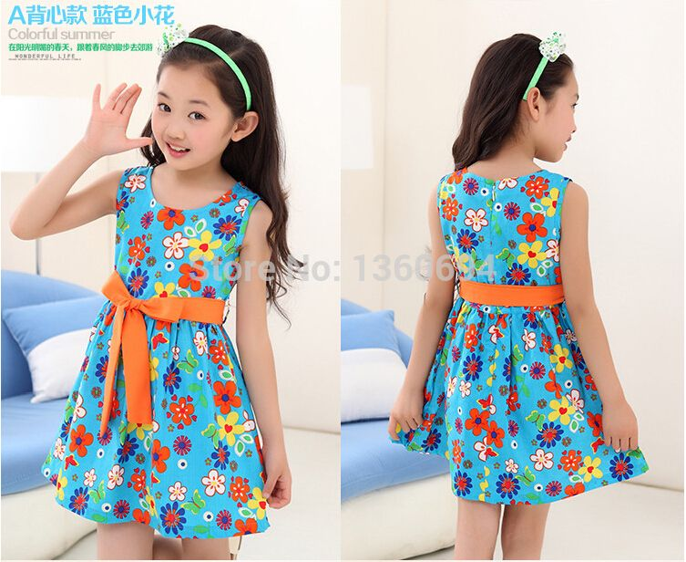 summer 2015 new casual cotton girl dresssleeveless baby