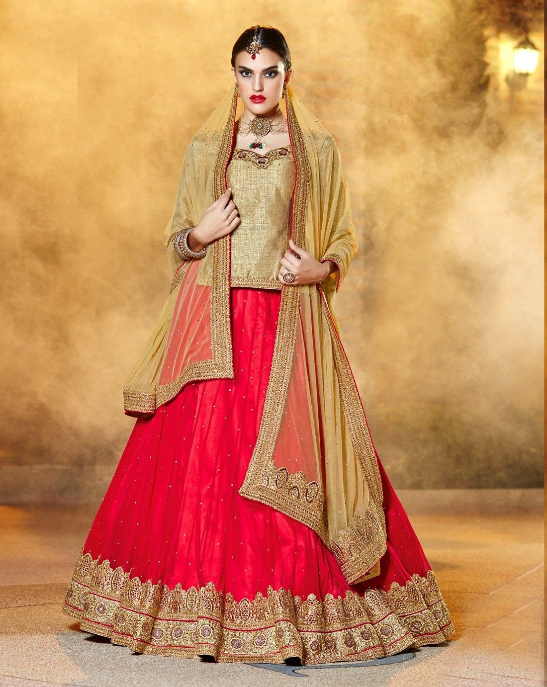 Designer Red Indian bridal lehnga with full length beige
