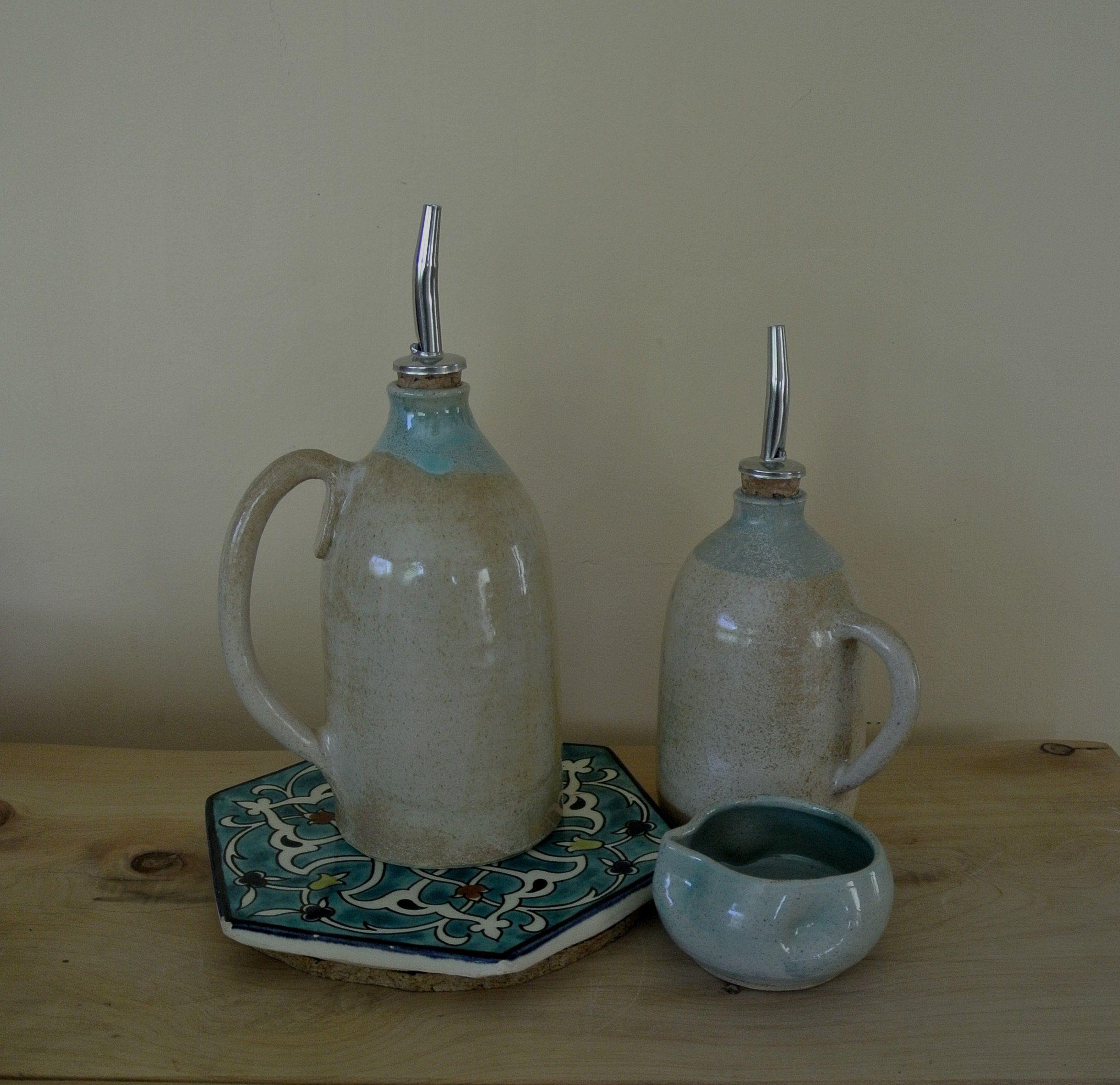 Olive Oil And Vinegar Ceramic Handmade Dispenser Decorative Pottery