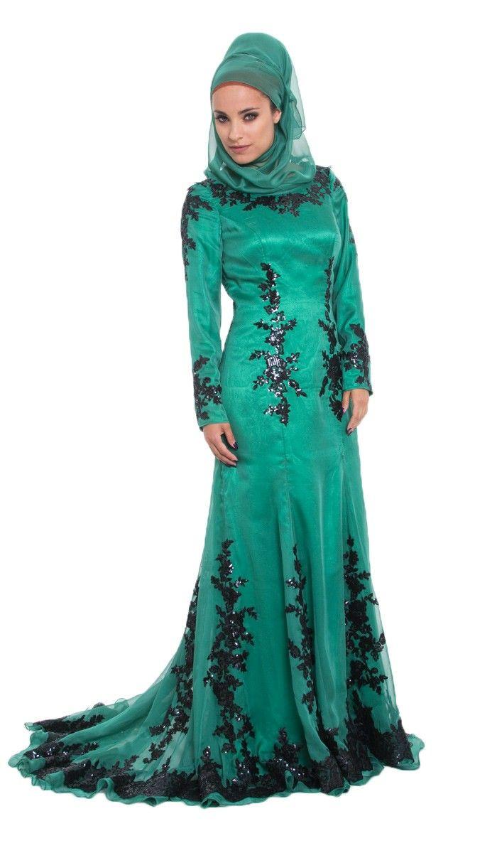 Amira Sequined Silk Emerald Green Islamic Formal Long Dress   Modest ...