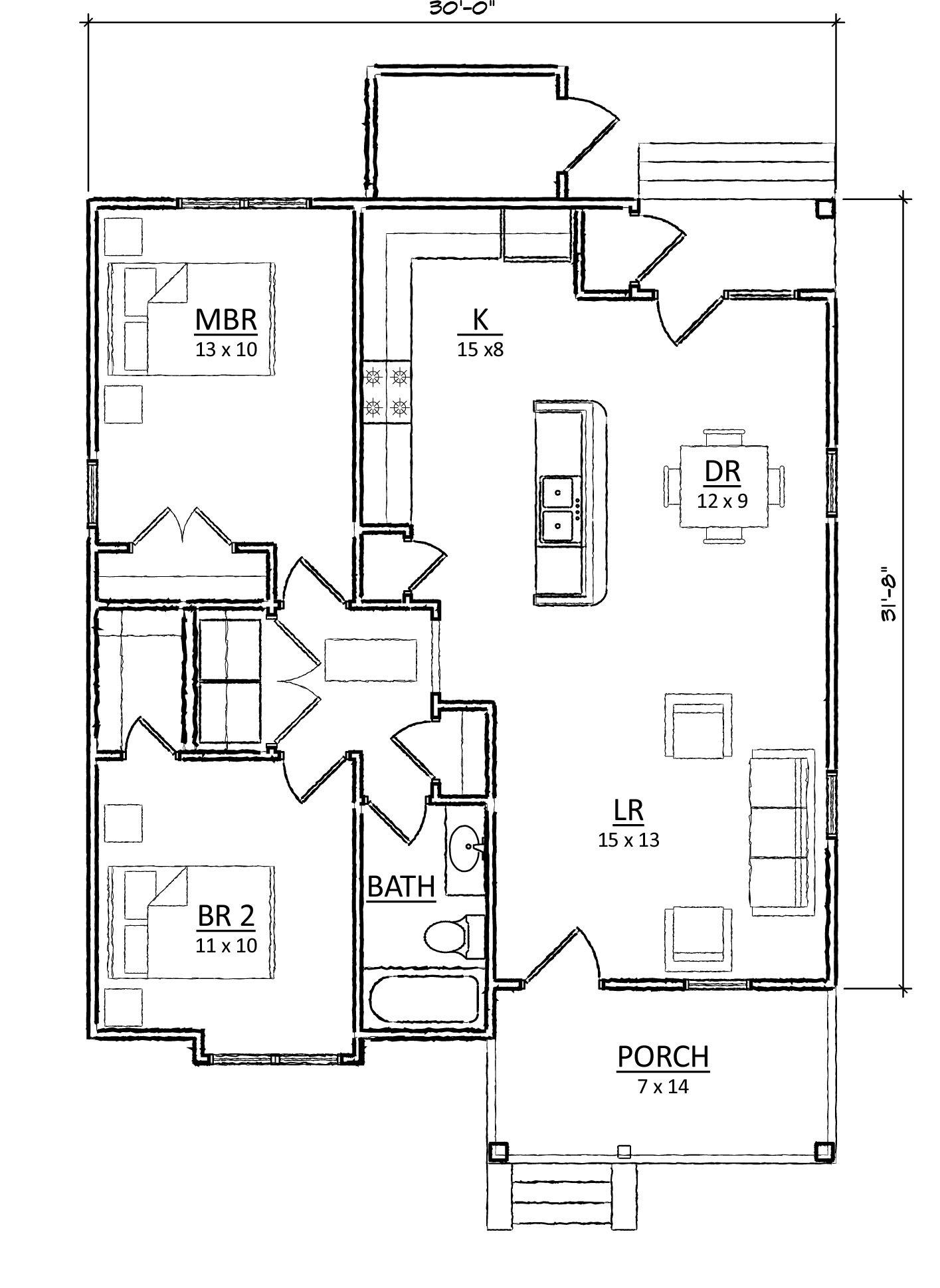 open floorplan bay window bathroom needs to connect to masterbrm needs basement - 2br Open Floor House Plans