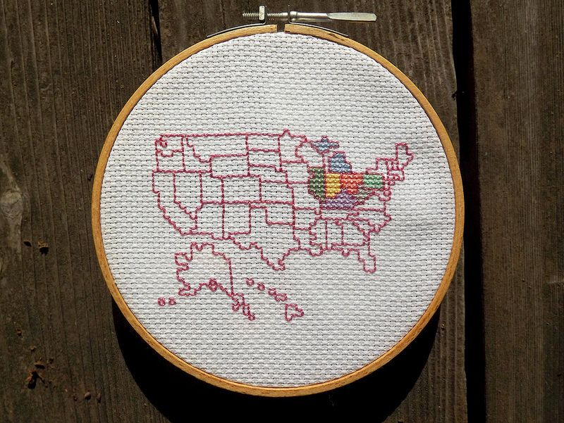 Stitch The States Cross Stitch Usa Map Cross Stitch Cross