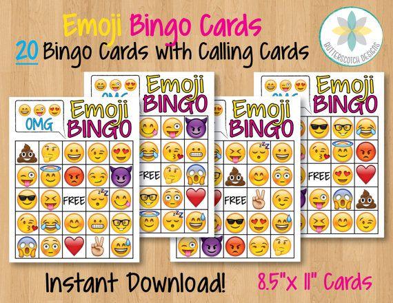 Emoji Printable Bingo Cards 20 Different By ButterscotchDesign School Birthday 12th Celebration