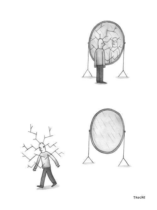Reflejo En El Espejo Human Art Broken Mirror Drawing Art