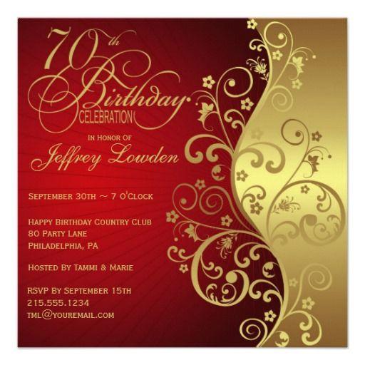 gold 70th birthday party invitation