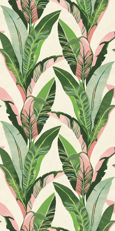 Jungle Palm Mural by Eijffinger - Green & Pink - Mural : Wallpaper Direct