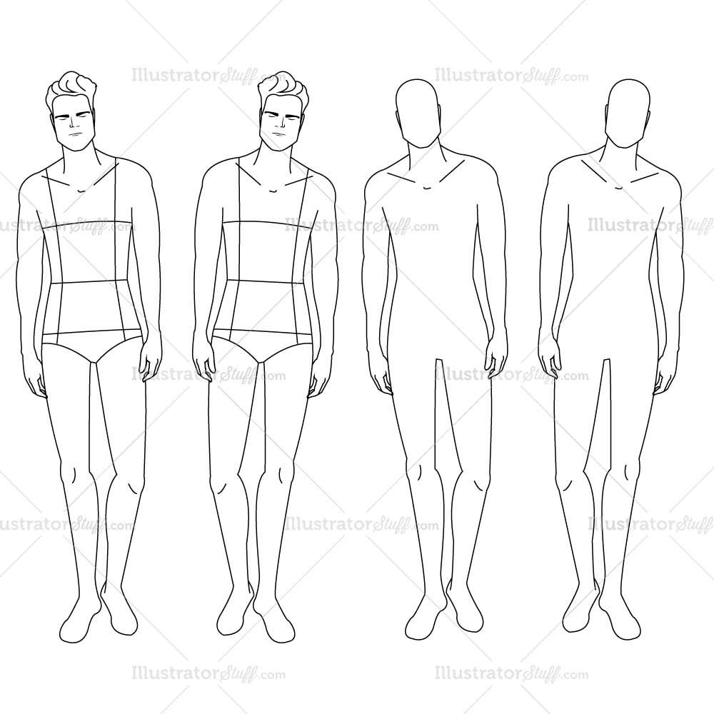 Male Fashion Croquis Template in 2019
