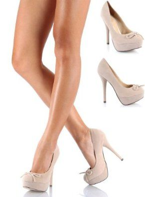 Shoehorne Dash-3 - Womens Nude/Cream Faux Suede Pretty Bow High Heel Stiletto Round Toe Court Shoes