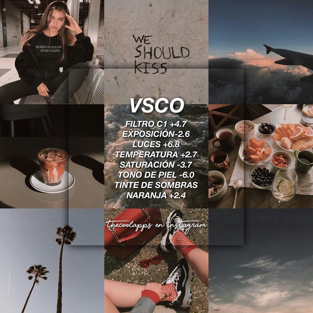 """FILTROS PARA TU FEED * ♡・゚✧ on Instagram: """"••• VSCO: este filtro le dará una tonalidad muy bonita a la piel, le da un poquito de brillo. Es un filtro café muy leve que queda bien con…"""""""