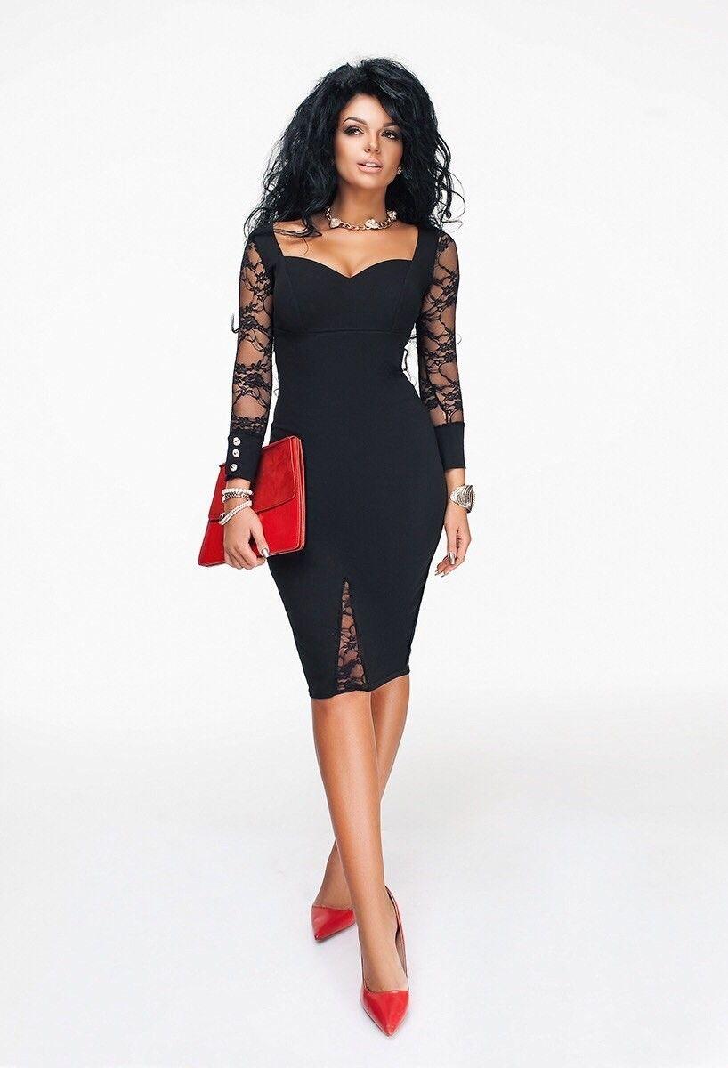 Элегантное черное платье с гипюровыми вставками Платья pinterest
