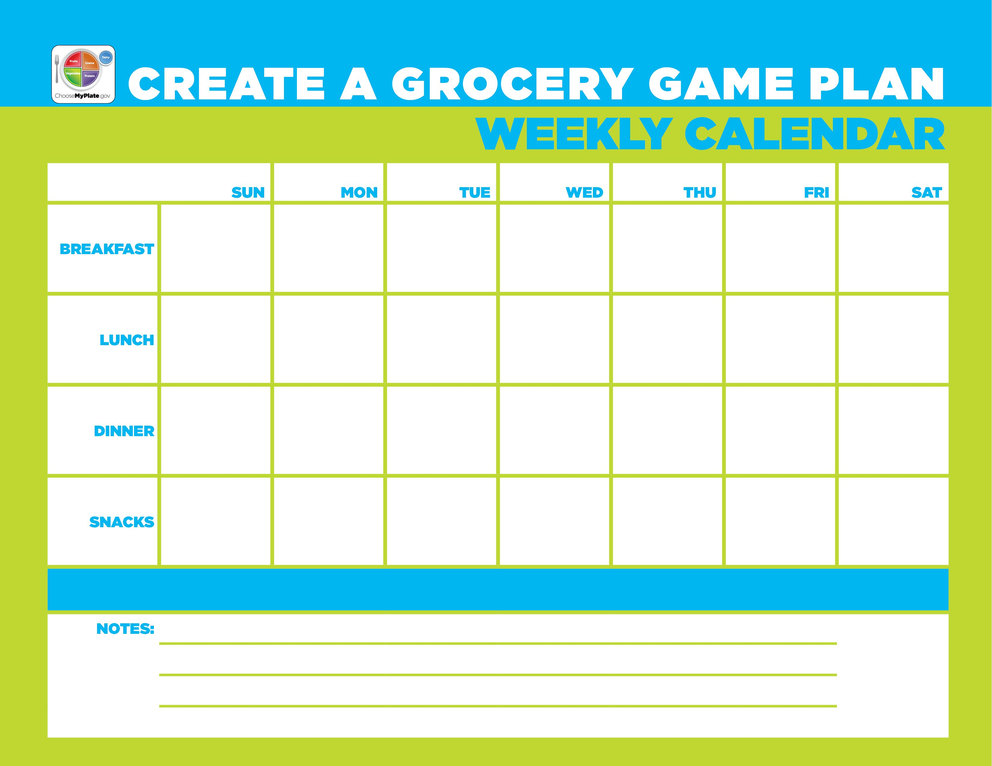 Weekly Menu Calendar Template Myplate Mealplanning In