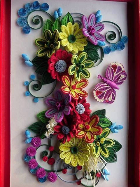 Handmade Quilling Paper Flower Wall Art 3d Art Ideal For Framing