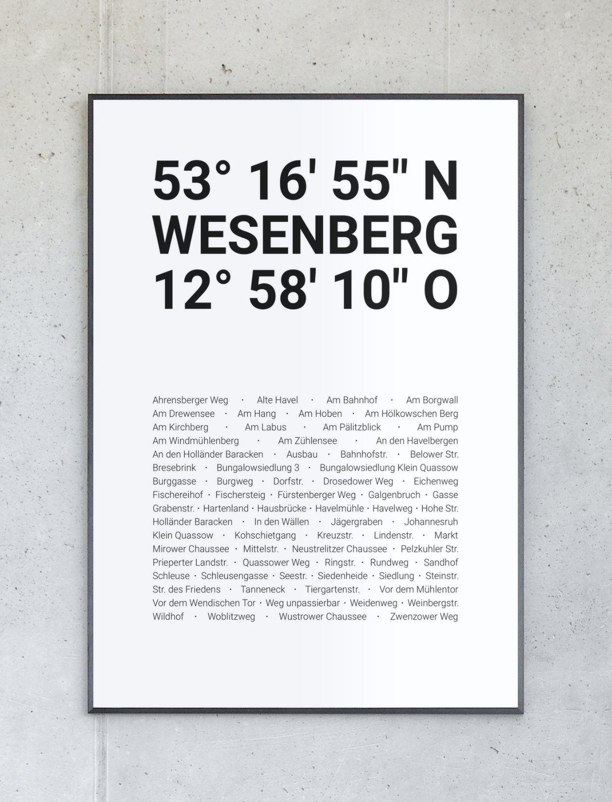 Koordinatenposter von Wesenberg – Komplett personalisierbar.
