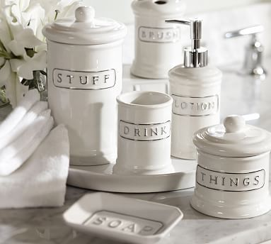 Bathroom Canister Ceramic Text Canister Small  Bath Accessories Texts And Bath