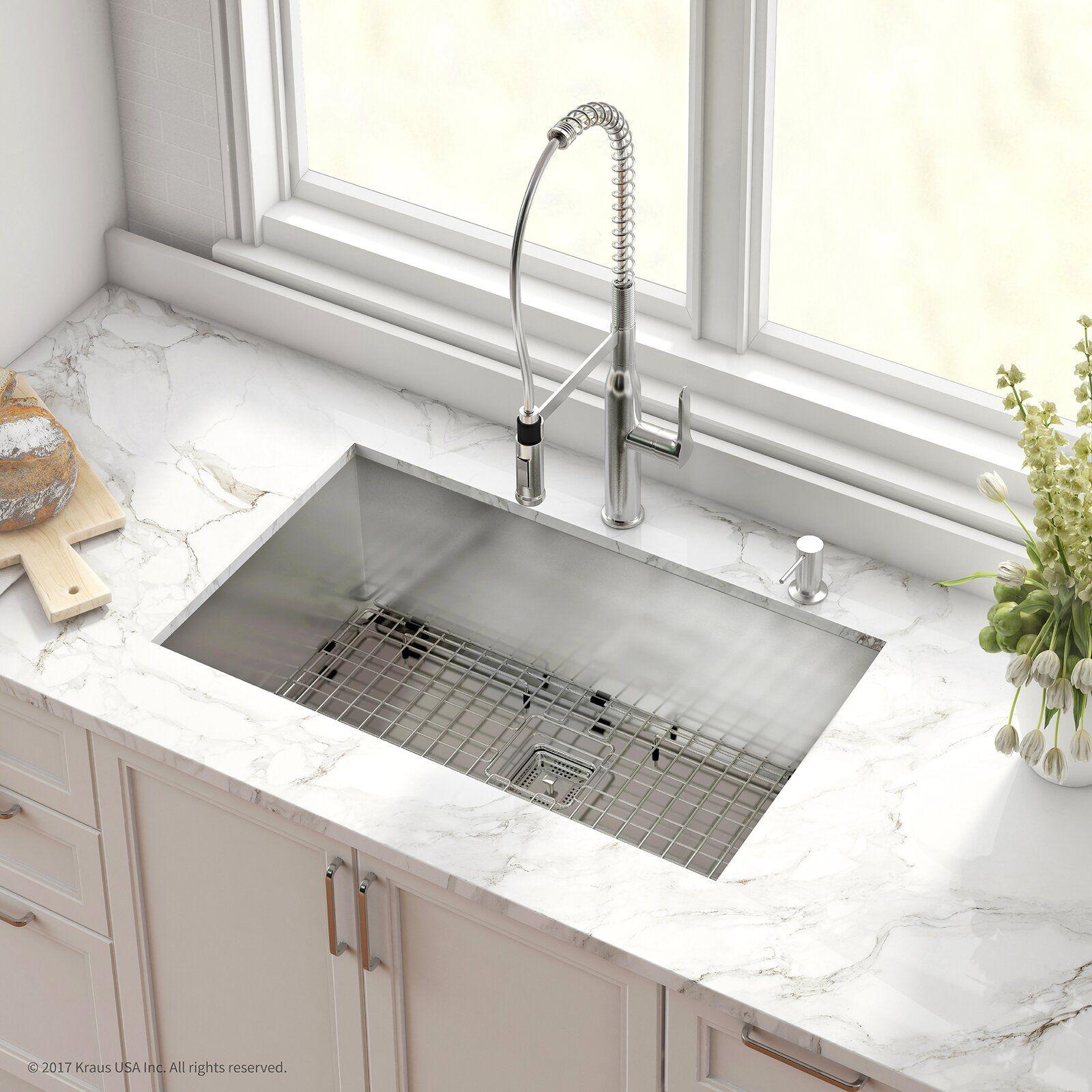 Kraus pax stainless steel 16 gauge 31 5 x 18 5 undermount kitchen sink with faucet wayfair