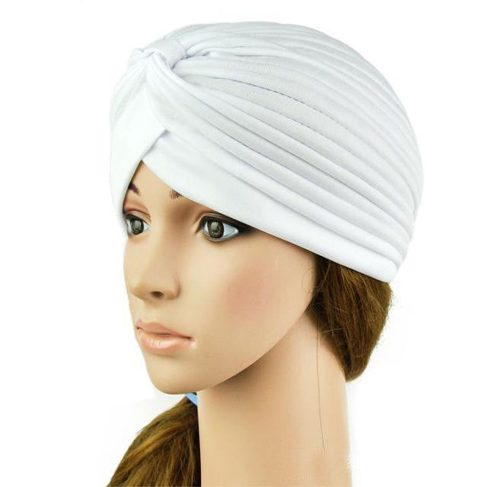 e172dbafc8e Stretchy Turban Head Wrap Band Sleep Hat Chemo Bandana Hijab Pleated Indian  Cap