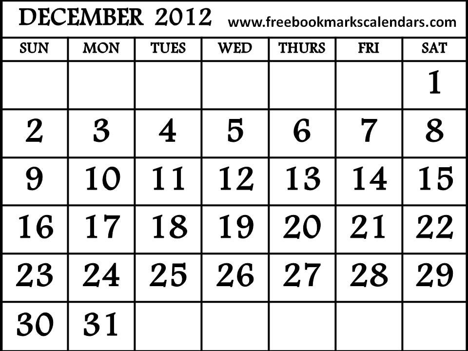 Free Printable Calendar December 2012 Calendar 2012 Pinterest