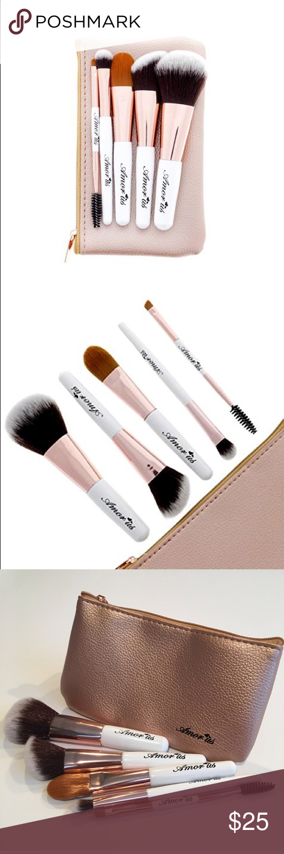 Vegan Pettit Travel essential Makeup Brush set 5-Piece Set Petite Travel Essentials Makeup Brush Set with Pouch Cruelty Free & Vegan Soft & Dense Synthetic Fibers Amorus USA  This 5-Piece Set Petite Travel Essentials Makeup Brush Set will give flawless makeup while on the go. It features soft synthetic, cruelty free and vegan brushes accompanied by an adorable and snug rose gold brush pouch perfect for travel. amor us Makeup Brushes & Tools