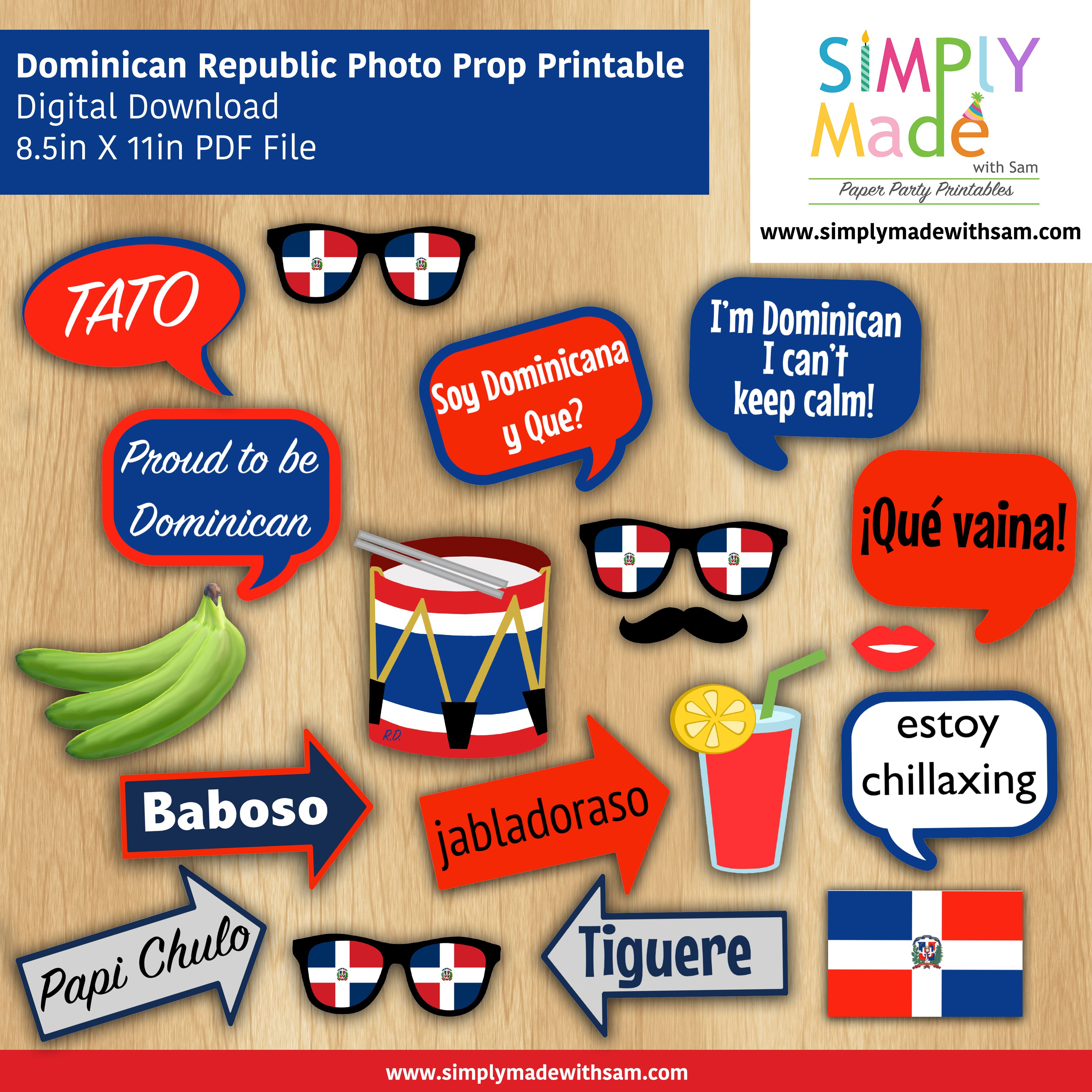 DIY Dominican Republic Photo Booth Props Use These For Your - Dominican republic independence day