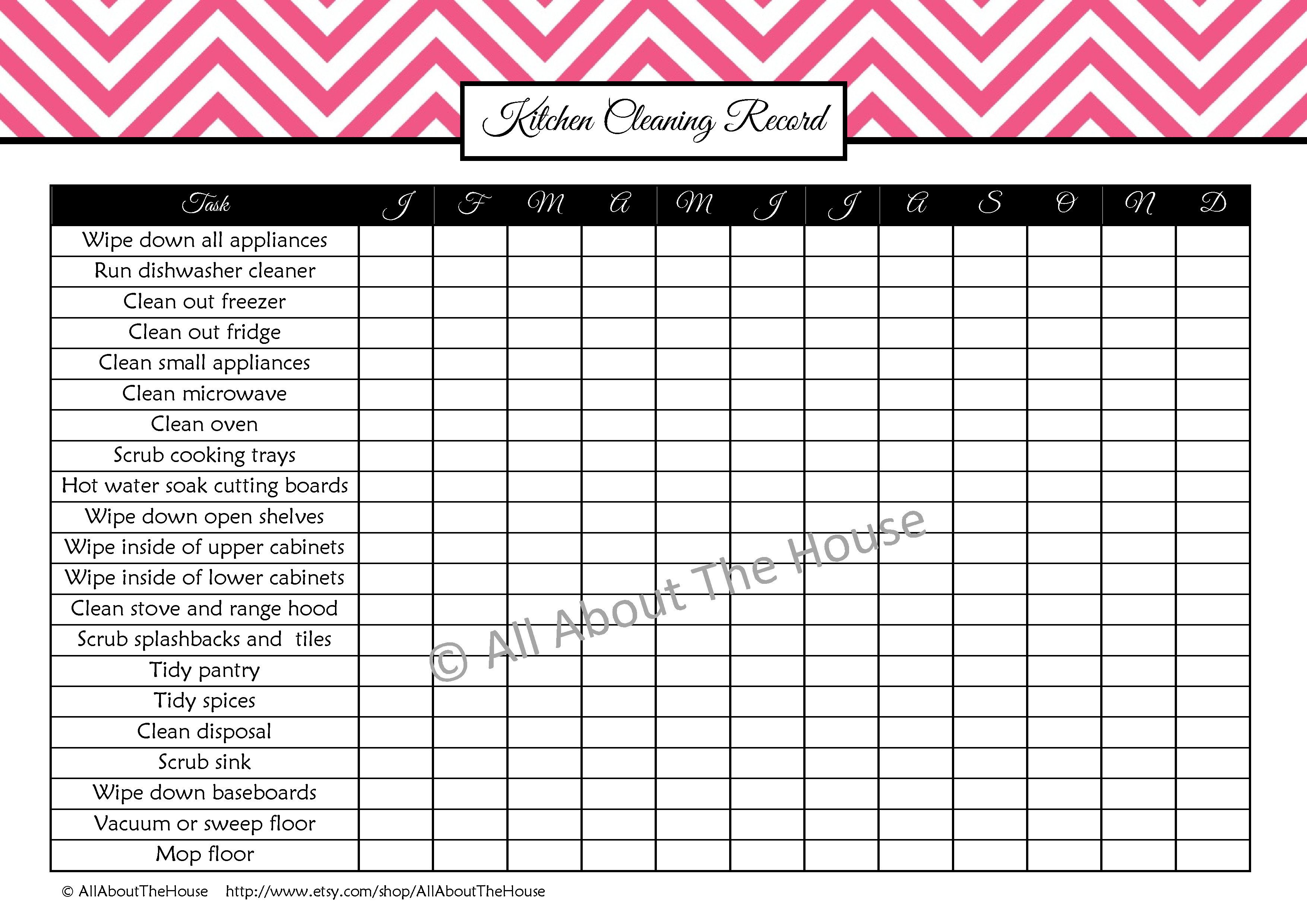 Kitchen Cleaning Record From The Cleaning Set Available