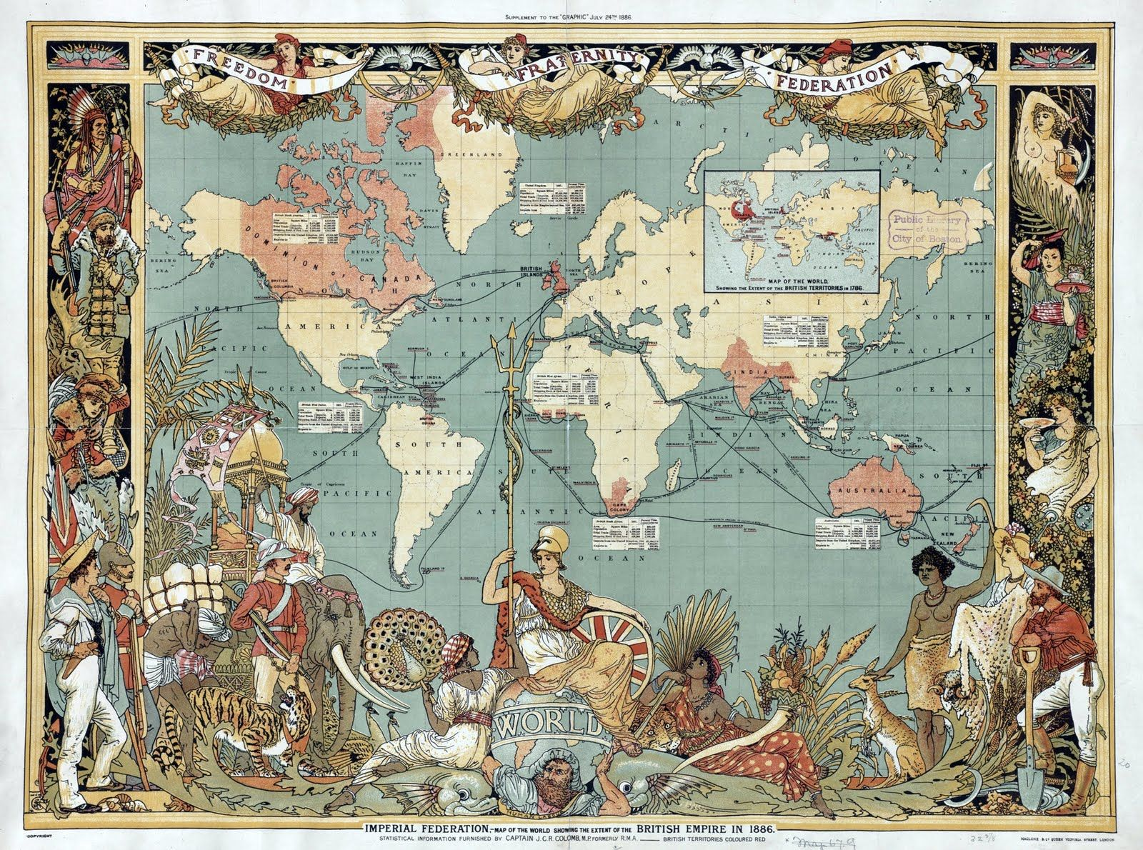 Political world map illustrated by the english artist walter crane political world map illustrated by the english artist walter crane showing the extent of the british empire in 1886 gumiabroncs Image collections