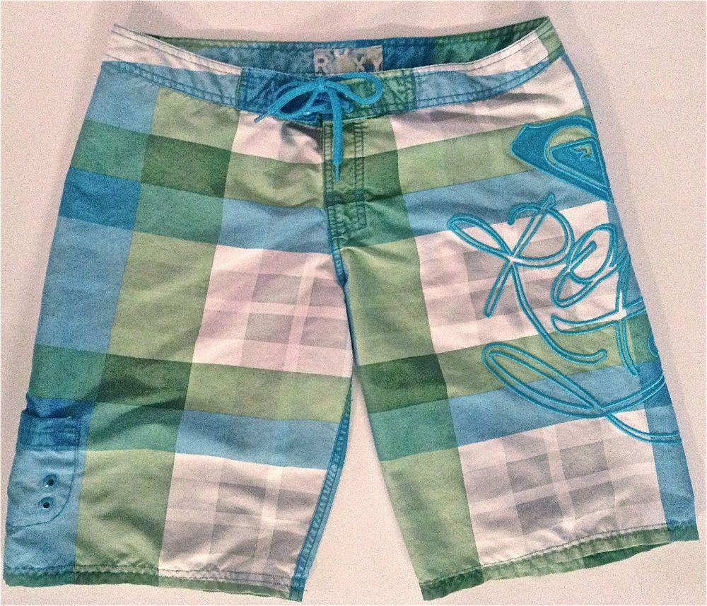 76d209f831 ROXY by Quiksilver Womens Board Shorts Size 7 Surf Swimwear Plaid Bermuda  Beach