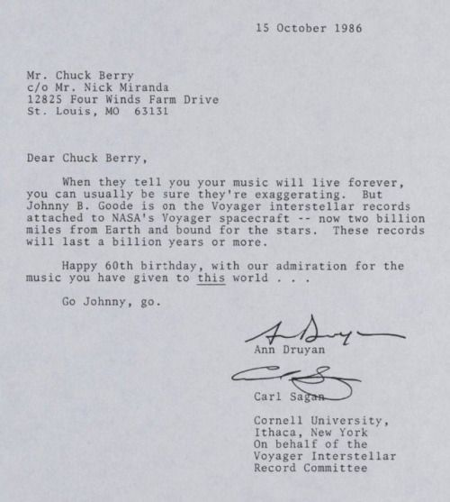 Carl Sagan \ Ann Druyan wrote a letter to Chuck Berry on his 60th - country of origin letter