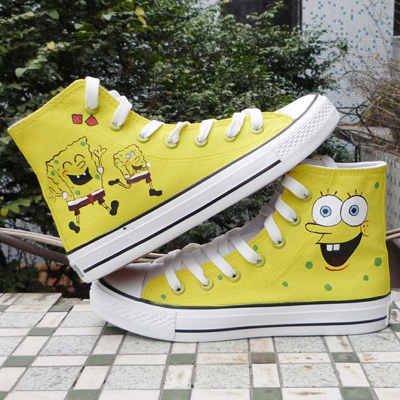 bf3b6dad6e32 Hand Painted SpongeBob SquarePants Converse Chuck Taylors