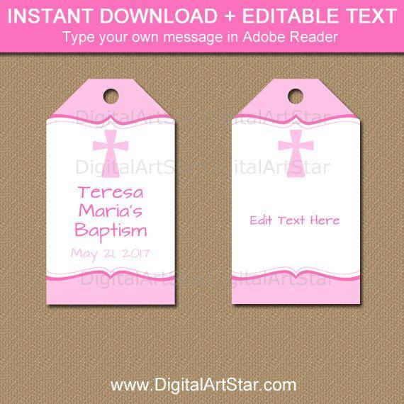 Girl Baptism Tags Pink Baptism Gift Tags Girl Christening Tags