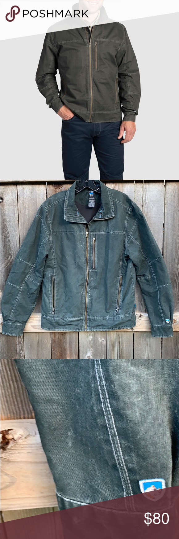 "f11f5526b0 Kuhl Men's Vintage Patina Dye Jacket Worn Kuhl Jacket. After we washed it,  it had the ""worn"" look and hubby didn't like it. He may have worn it a  dozen of ..."