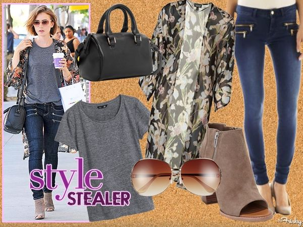 Style Stealer: Lily Collins' Cute Kimono Cover-Up