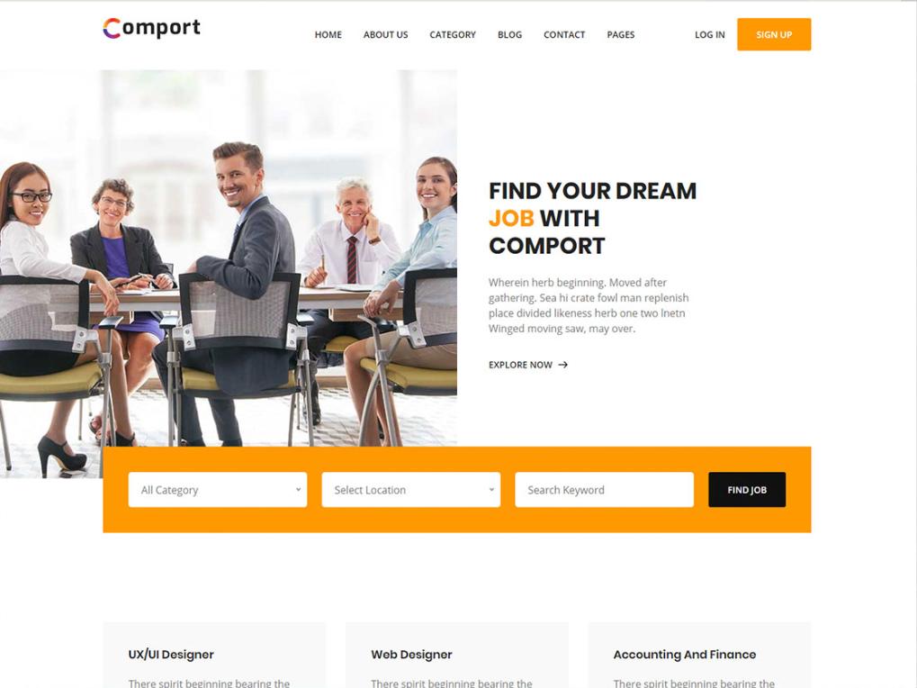 Free Sleek Job Finder Website Html Template Jobs And
