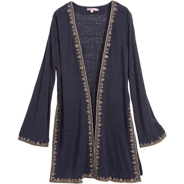 CALYPSO St. Barth Zahi Hand Embellished Linen Cardi ($250) ❤ liked on Polyvore featuring tops, cardigans, navy cc, summer cardigans, embellished tops, blue sequin top, boho cardigan and summer tops