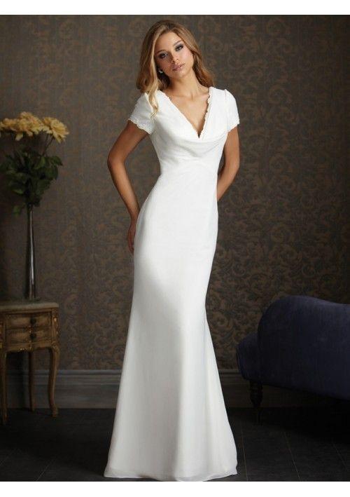 Chiffon Column V Neck Short Sleeves Wedding Dress With Chapel