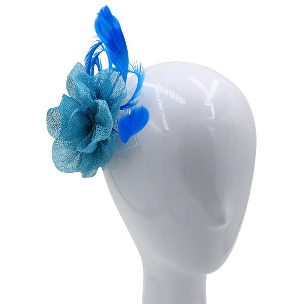 162542111bb26 An aqua flower sinamay fascinator with matching feathers and biot swirls.  Suits both a side or up do hair style.