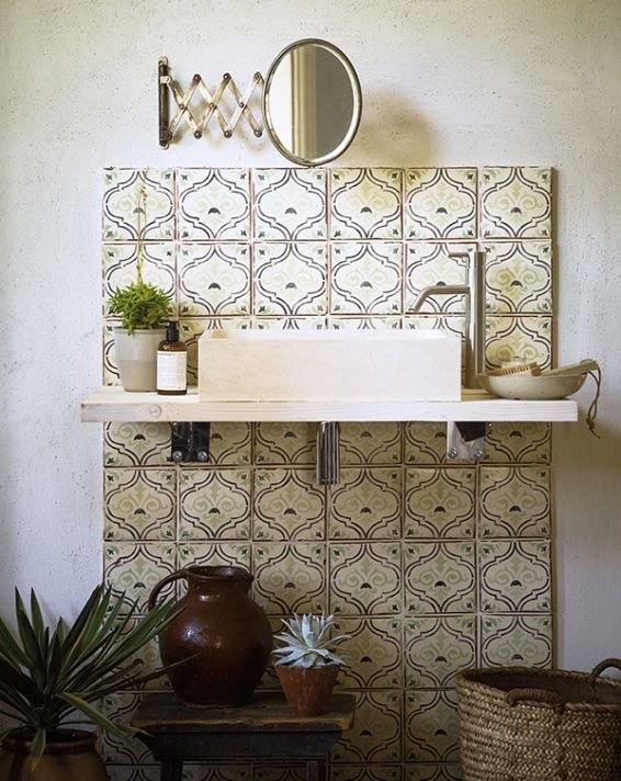 fired earth  wall and floor tiles painting bathroom