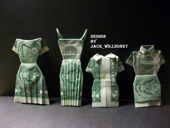 Photo of Items similar to A Beautiful Handcrafted Money Origami 4 DRESSES Great Gift Idea-Made Of Real one Dollar Bills on Etsy